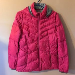 Esprit down jacket with hood and removable sleeves